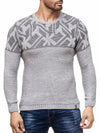 K&D Men Stylish Maze Top Pullover Sweater - Gray - FASH STOP