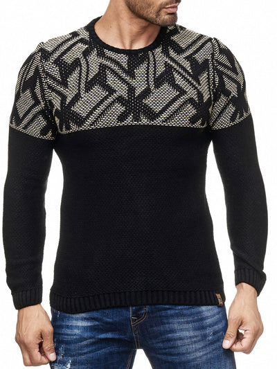K&D Men Stylish Maze Top Pullover Sweater - Black - FASH STOP