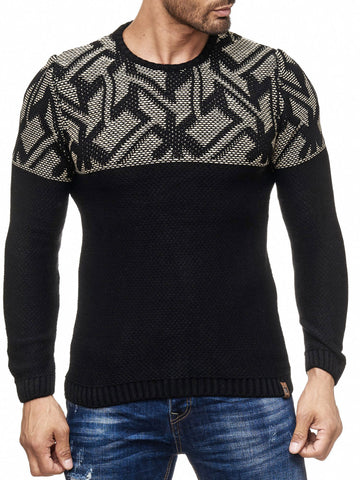 K&D Men Stylish Maze Top Pullover Sweater - Black