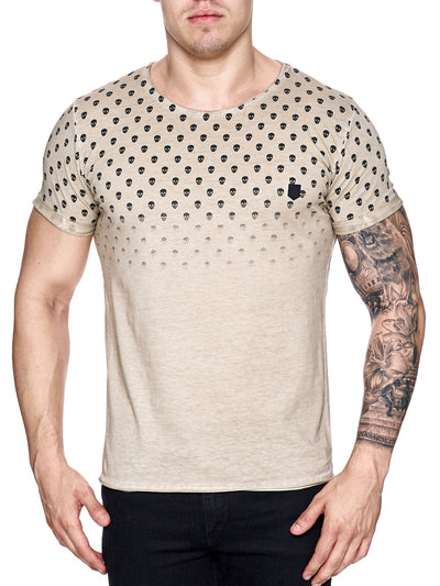 K&D Men Top Skulls Dyed T-shirt - Beige - FASH STOP