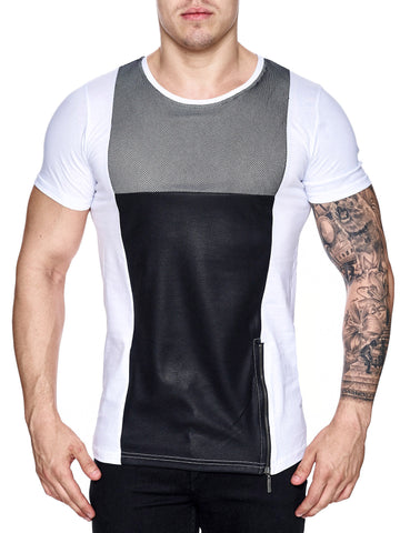 K&D Men Mesh Top Side Zipper T-shirt - White