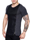 K&D Men Mesh Top Side Zipper T-shirt - Dark Gray - FASH STOP