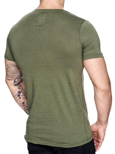 K&D Men Mesh Top Side Zipper T-shirt - Army Green - FASH STOP