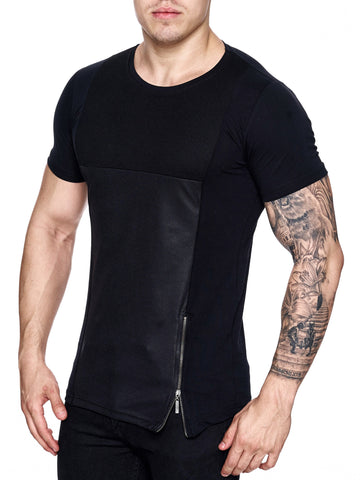 K&D Men Mesh Top Side Zipper T-shirt - Black