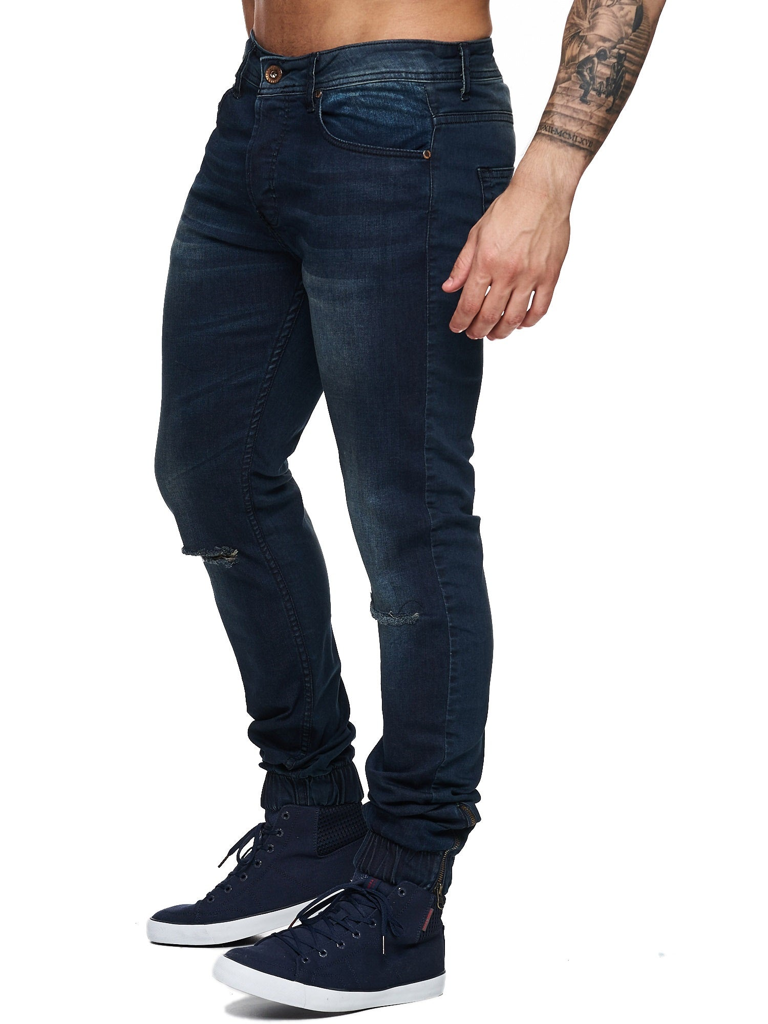 fb0b41f59e0 F&S Men Slim Fit Denim Avant Knee Ripped Distressed Jogger Jeans - Dark Blue  - FASH