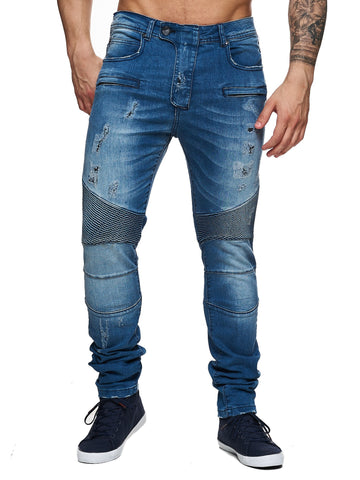 F&S Men Slim Fit Denim Ball 005 Biker Distressed Jeans - Blue