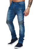 F&S Men Slim Fit Denim Ball Biker Distressed Jeans - Blue - FASH STOP