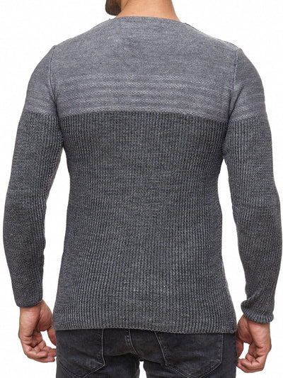 K&D Men Stylish 2 Tone Crew Neck Simple Sweater - Gray - FASH STOP