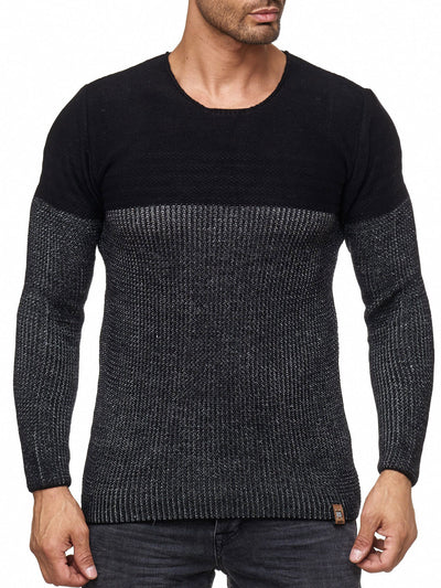 K&D Men Stylish 2 Tone Crew Neck Simple Sweater - Black - FASH STOP