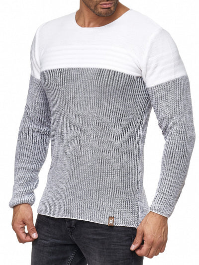 K&D Men Stylish 2 Tone Crew Neck Simple Sweater - White - FASH STOP