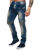 F&S Men Slim Fit Denim Ball 007 Biker Distressed Jeans - Dirt Blue
