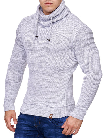 K&D Men Stylish 3 Lines Turtle Neck Sweater - White