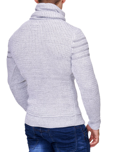 K&D Men Stylish 3 Lines Turtle Neck Sweater - White - FASH STOP
