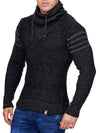 K&D Men Stylish 3 Lines Turtle Neck Sweater - Black - FASH STOP
