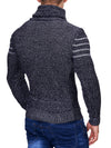 K&D Men Stylish 3 Lines Turtle Neck Sweater - Navy Blue - FASH STOP
