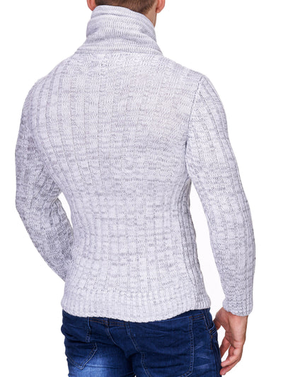K&D Men Stylish Chrom Mock Neck Sweater - White - FASH STOP