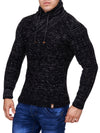 K&D Men Stylish Chrom Mock Neck Sweater - Black - FASH STOP