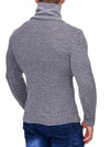 K&D Men Stylish 2 Line Mock Neck Zipper Sweater - Gray - FASH STOP
