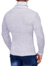 K&D Men Stylish 2 Line Mock Neck Zipper Sweater - White - FASH STOP