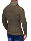 K&D Men Stylish Turtle Zip Neck Ridges Sweater - Green - FASH STOP