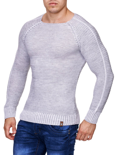 K&D Men Stylish Fully Ribbed Sweatshirt Ridges - White - FASH STOP