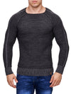 K&D Men Stylish Fully Ribbed Sweatshirt Ridges - Black - FASH STOP