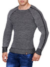 K&D Men Stylish Fully Ribbed Sweatshirt Ridges - Gray - FASH STOP