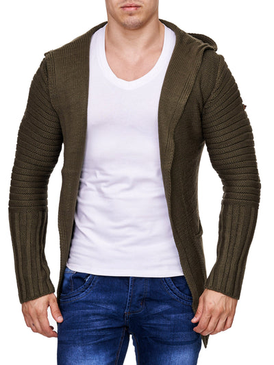 K&D Men Stylish Open Hoodie Sweater - Green - FASH STOP