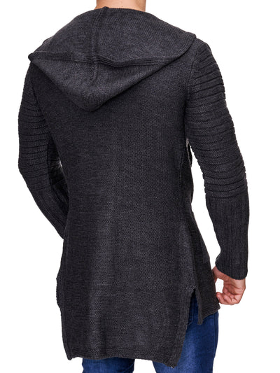 K&D Men Stylish Open Hoodie Sweater - Dark Gray - FASH STOP