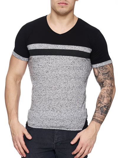 K&D Men Cross Band V-Neck T-shirt - Gray - FASH STOP