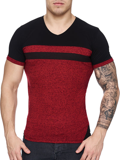 K&D Men Cross Band V-Neck T-shirt - Red - FASH STOP
