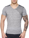 K&D Men Corner Stars Faux Leather Band V-Neck T-shirt -  Gray - FASH STOP