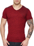 K&D Men Corner Stars Faux Leather Band V-Neck T-shirt - Red - FASH STOP