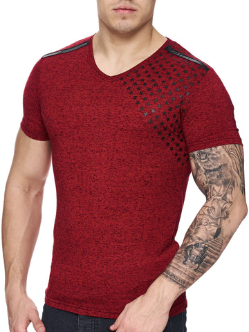 K&D Men Corner Stars Faux Leather Band V-Neck T-shirt - Red