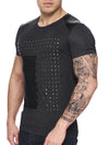 K&D Men Faux Leather Studded T-shirt - Dark Gray - FASH STOP