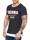 F&S Men Power Blues Long T-Shirt - Dark Heather Gray - FASH STOP