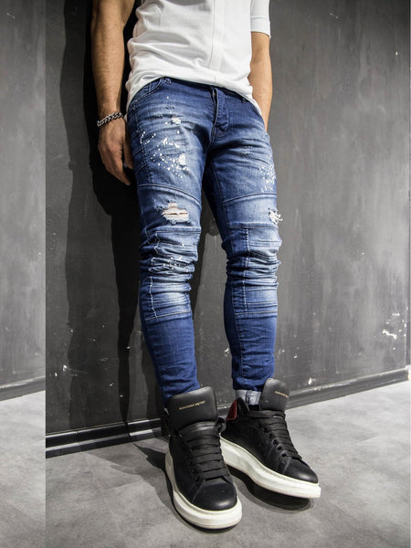 2Y Men Slim Fit Ripped Destroyed Paint Mini Bars Jeans - Blue