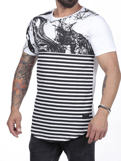 N&R Men Scrib Stripes T-shirt - White