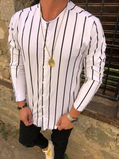 No Collar Stripes Long Sleeves Button Down Shirt - White OS0004B