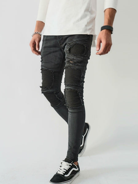 2Y Men Skinny Fit Ribbed Ripped Motor Biker Jeans - Metal Black