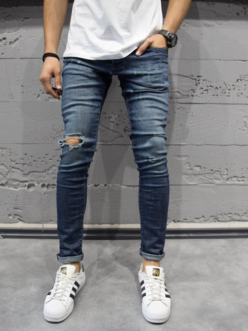 P&V Men Slim Fit Only Ripped Distressed Jeans - Blue