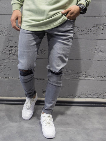 ADJ Men Slim Fit Simply Ripped Knee Destroyed Jeans - Gray