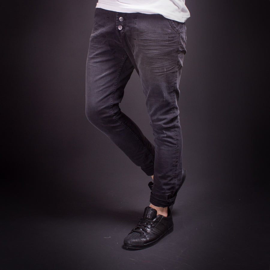 P&V Men Slim Fit Low Crotch Jeans - Washed Black