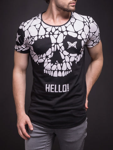 2Y Men Graphic Butterfly Skull Hello! T-Shirt - Black