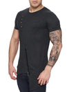 K&D Men Asymmetrical Zipper Long T-shirt - Dark Gray - FASH STOP