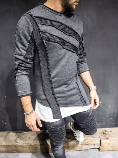 2&Y Men Stylish Asymmetrical Sweater Mesh - Heather Gray - FASH STOP