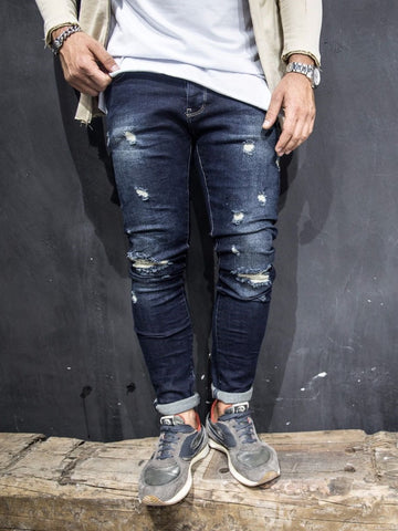 "2Y Men Slim Fit ""Here And There"" Ripped Destroyed Jeans - Dark Blue"