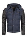 Y&R Men Stylish Denim Hoodie Jacket Faux Leather Sleeves - Blue