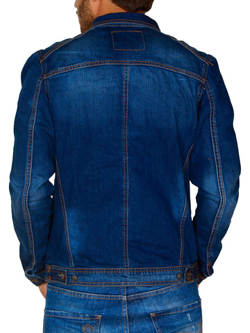 R&R Men Stylish Denim Trucker Jacket - Blue