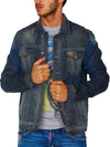 R&R Men Stylish Denim Trucker Jacket - Dirty Blue